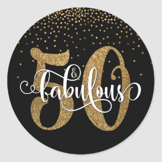 Glitter & Script 50 & Fabulous on Black, Birthday Classic Round Sticker