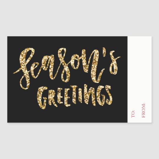 Glitter Seasons Greetings Gift Tag To From Sticker