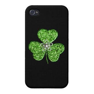 Glitter Shamrock And Flower iPhone 4 Cases