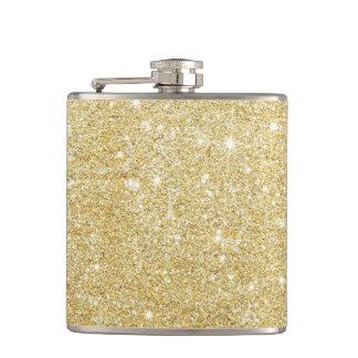 Glitter Shiny Luxury Golden Hip Flask