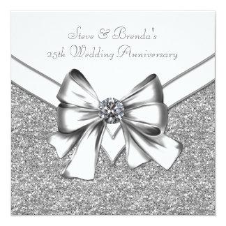 Glitter Silver 25th Wedding Anniversary Party 13 Cm X 13 Cm Square Invitation Card