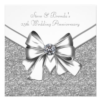 Glitter Silver 25th Wedding Anniversary Party Announcements