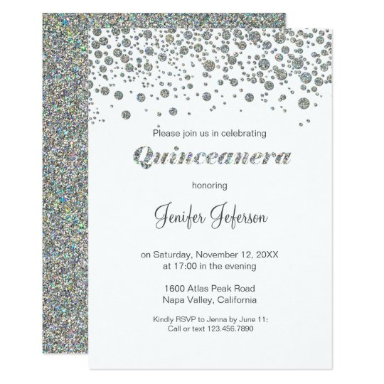 Glitter silver confetti quinceanera invitation zazzle glitter silver confetti quinceanera invitation stopboris Choice Image