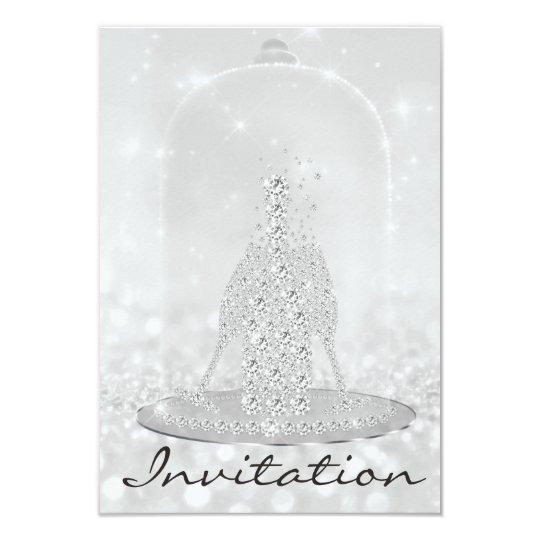 Glitter Silver Diamond Glass Bubbles Champagne Lux Card