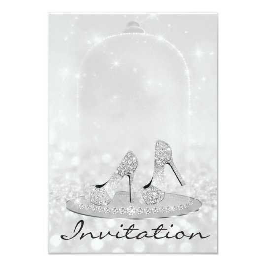 Glitter Silver Diamond Glass Shoes Heels Gray Lux Card