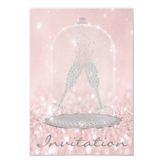 Glitter Silver Gray Pink Diamond Glasses Bubbles Card