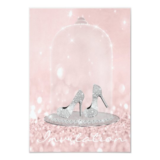 Glitter Silver Gray Pink Diamond Shoes Glitter Card