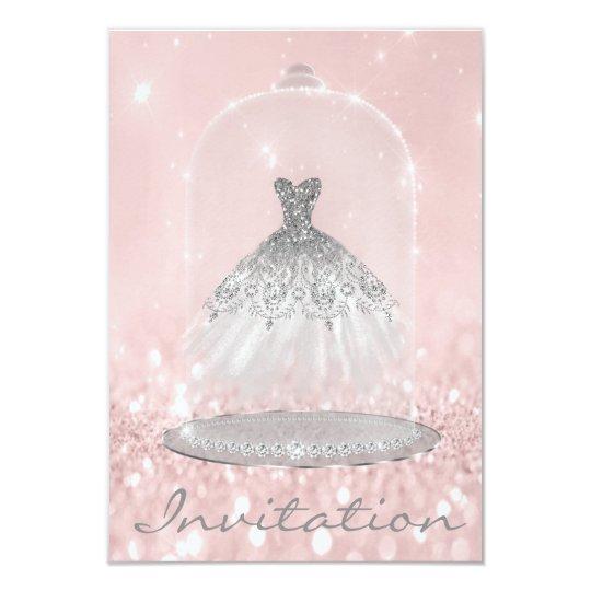 Glitter Silver Gray Pink Diamond Silver Dress Girl Card