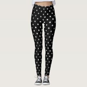 Glitter Silver Polka Dots  Black Delicate Sparkly Leggings