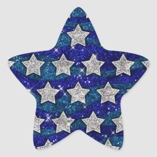Glitter Silver Stars Glitter Blue Waves Sparkle Star Sticker