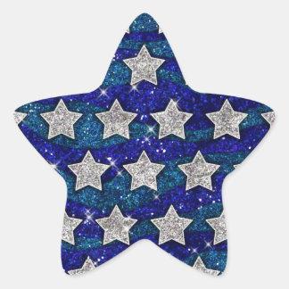 Glitter Silver Stars Glitter Blue Waves Sparkle Star Sticker