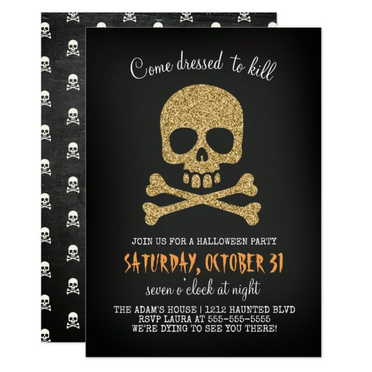 Glitter Skull Halloween Party Invitation