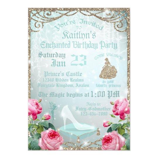 Glitter Sparkle Cinderella Glass Slipper Birthday Card