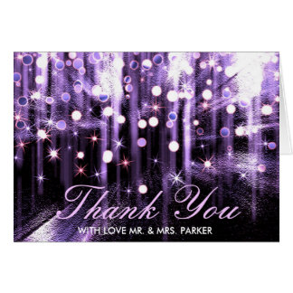 Glitter Sparkle Purple Confetti Wedding Thank You Greeting Card
