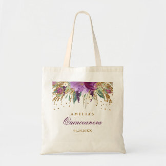 Glitter Sparkling Amethyst Quinceanera Tote Bag