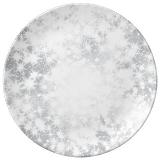 Glitter Sparkly Grey Silver Plate Porcelain Plate