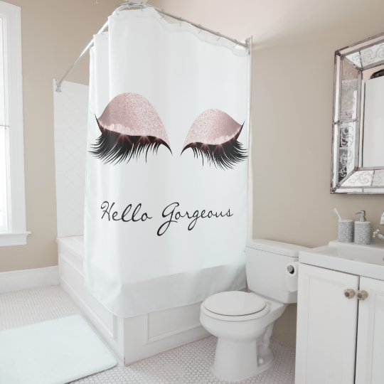 Prime Glitter Sparkly Hello Gorgeous White Pink Eyes Shower Curtain Gmtry Best Dining Table And Chair Ideas Images Gmtryco