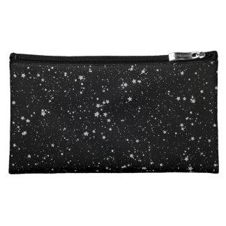 Glitter Stars2 - Silver Black Cosmetic Bag