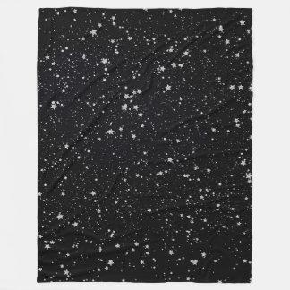 Glitter Stars2 - Silver Black Fleece Blanket