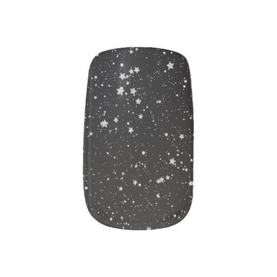 Glitter Stars2 - Silver Black Minx Nail Art