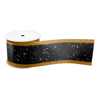 Glitter Stars2 - Silver Black Satin Ribbon