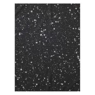 Glitter Stars2 - Silver Black Tablecloth