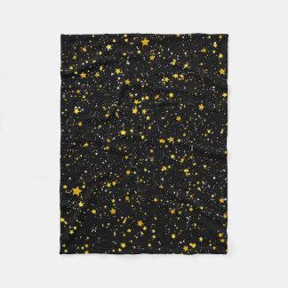Glitter Stars3 - Gold Black Fleece Blanket