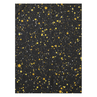 Glitter Stars3 - Gold Black Tablecloth