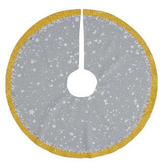 Glitter Stars4 - Silver Brushed Polyester Tree Skirt