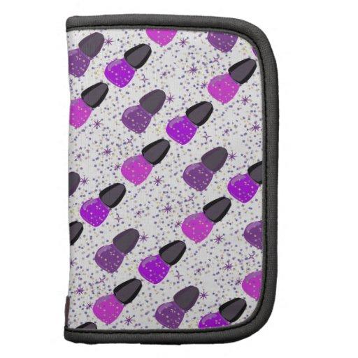 Glitter Stars Confetti Purple Nail Polish Folio Planners