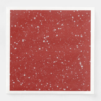 Glitter Stars - Silver Red Disposable Serviette