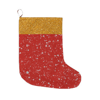 Glitter Stars - Silver Red Large Christmas Stocking