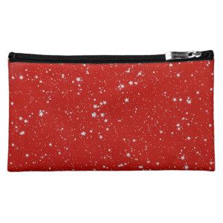 Glitter Stars - Silver Red Makeup Bag