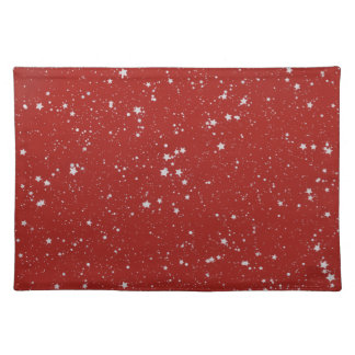 Glitter Stars - Silver Red Placemat