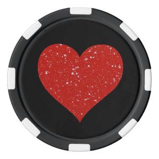 Glitter Stars - Silver Red Poker Chips