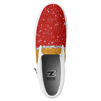 Glitter Stars - Silver Red Slip On Shoes