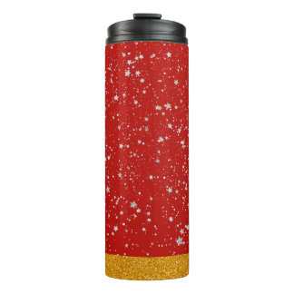 Glitter Stars - Silver Red Thermal Tumbler