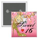 Glitter Stiletto Celebration for Sweet 16 | pink 15 Cm Square Badge
