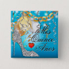 Glitter Stiletto Celebration Quinceañera blue 15 Cm Square Badge
