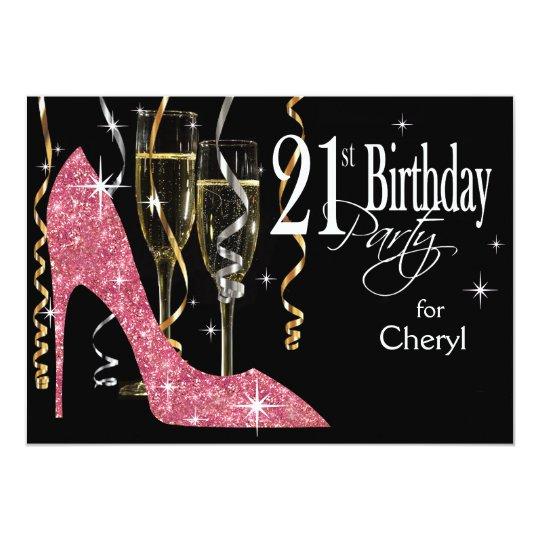 Glitter Stiletto Champagne 21st Birthday Pink Card