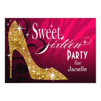 Glitter Stiletto Zebra Sweet 16 Party fuschia gold 13 Cm X 18 Cm Invitation Card