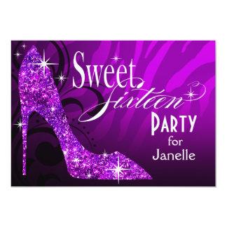 Glitter Stiletto Zebra Sweet 16 Party purple Cards