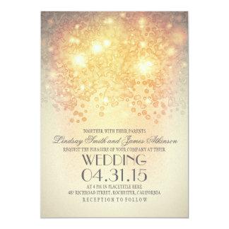 glitter string lights elegant vintage wedding card