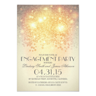 glitter string lights vintage engagement party 13 cm x 18 cm invitation card