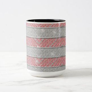Glitter Striped Zig Zag Two-Tone Coffee Mug
