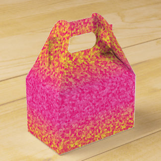 Glitter Stripes Pink-Yellow-PARTY FAVOR BOX, gable Wedding Favour Boxes