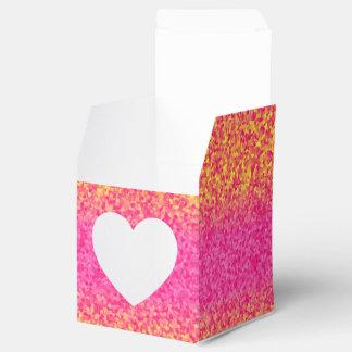 Glitter Stripes Pink-Yellow-PARTY FAVOR BOX,sq hrt Wedding Favour Box