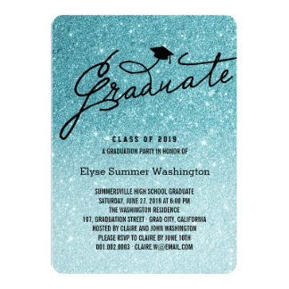 Glitter Stylish Graduate Graduation Party Invite