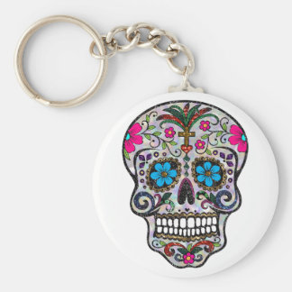 glitter Sugar Skull Basic Round Button Key Ring