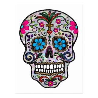 glitter Sugar Skull Postcard